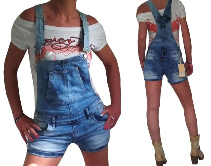 New Ladies Overall Shorts Jeans denim Dungarees blue 34 36 38 40 42