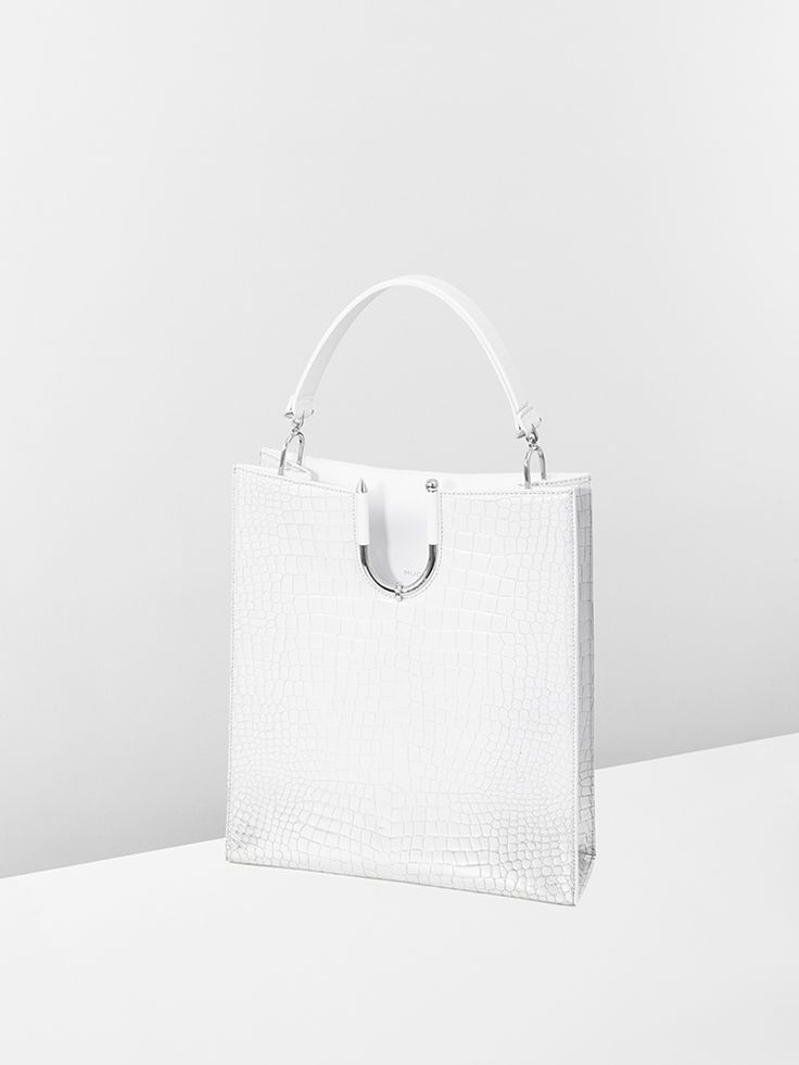White and silver calf leather #BarbellBag for #MuglerFallWinter