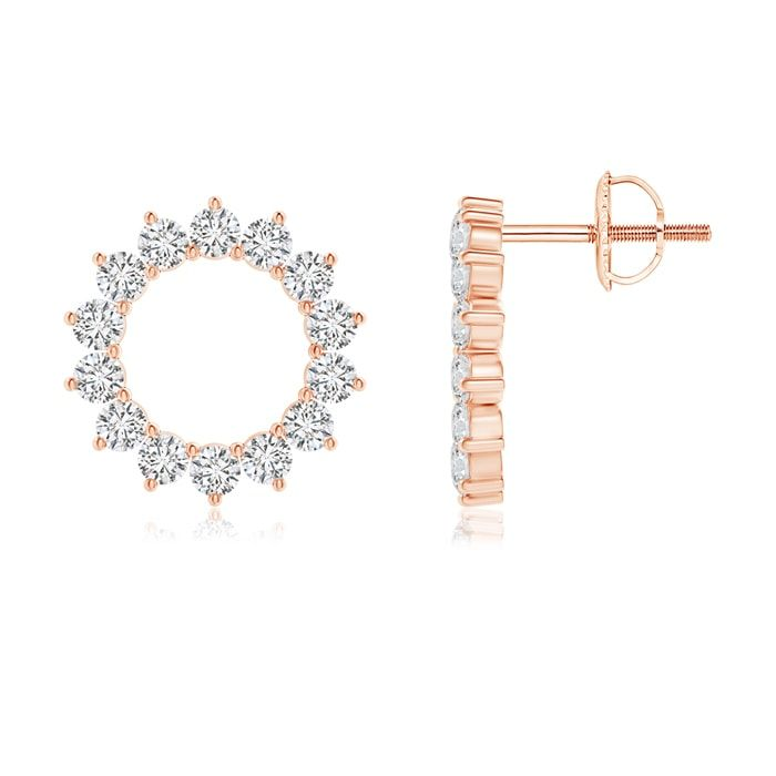Angara Diamond Studded Twin Open Circle Stud Earrings