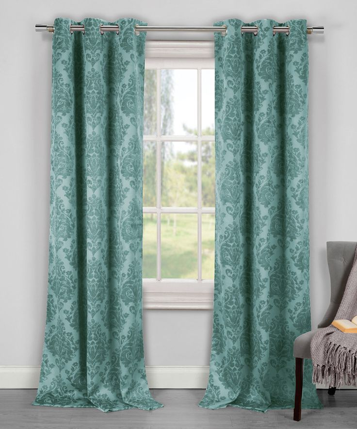 Duck River Textile Teal Phelan Blackout Curtain Panel Set Of Two Textiles Blackout Curtains