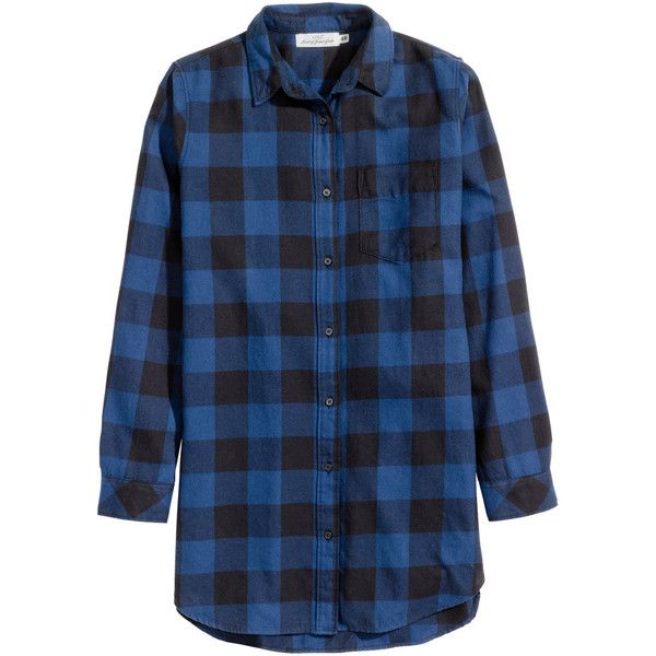 Long Flannel Shirt $24.99 ($25) ❤ liked on Polyvore featuring tops, long sleeve shirts, long shirt, blue flannel shirts, pleated top and checkered shirt