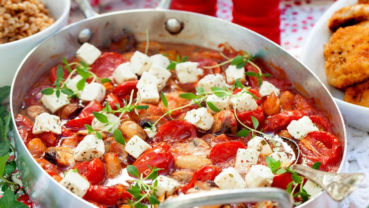 Gratäng med tomat vita bönor och fetaost – recept