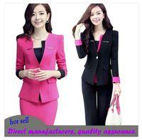 Mujeres trajes de negocios formales de oficina trabajan carrera trabajo conjunto falda del desgaste de la chaqueta de uniformes del personal de cuello de tres piezas