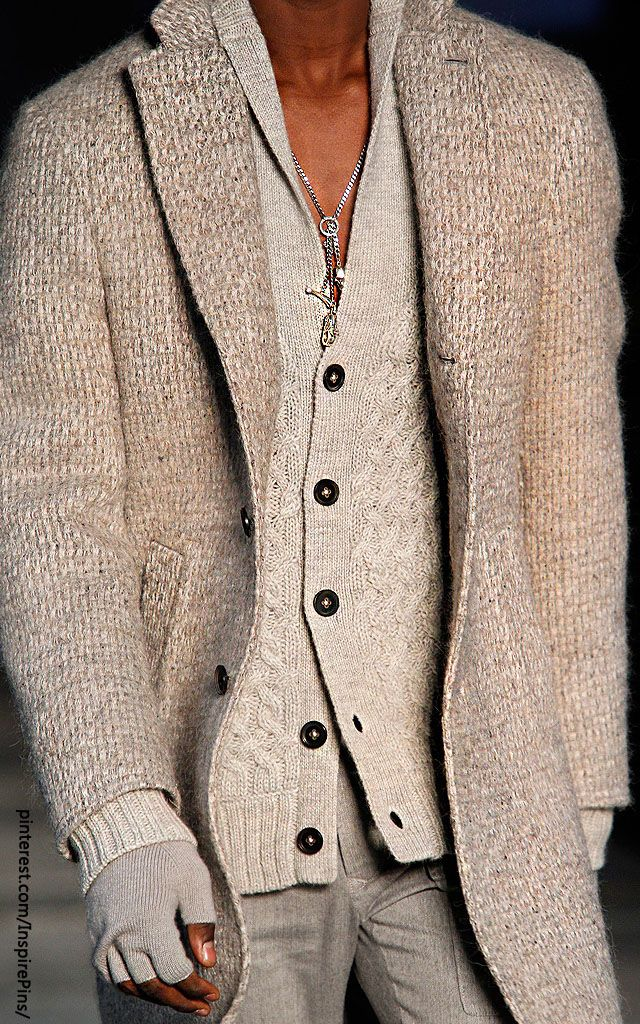 Oatmeal and ivory textures in this Men's emsemble are beautifully put together.  John Varvatos