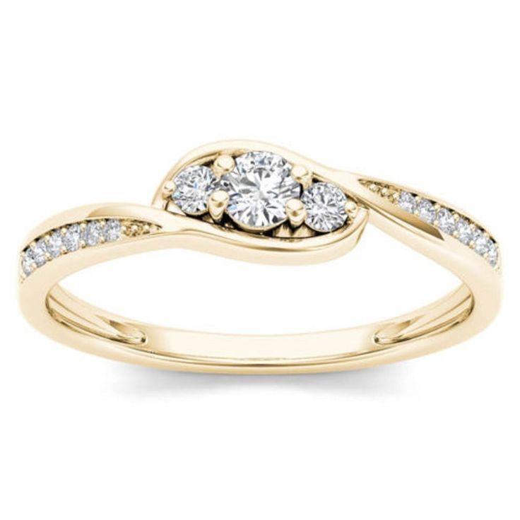 10k Yellow Gold Diamond Three-Stone  0.05 ct Round Shape Engagement Women Ring #GoldJewellery17 #Simulated