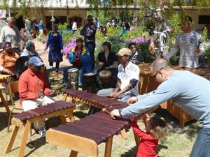 The marimba band performing at Camphill's monthly market.