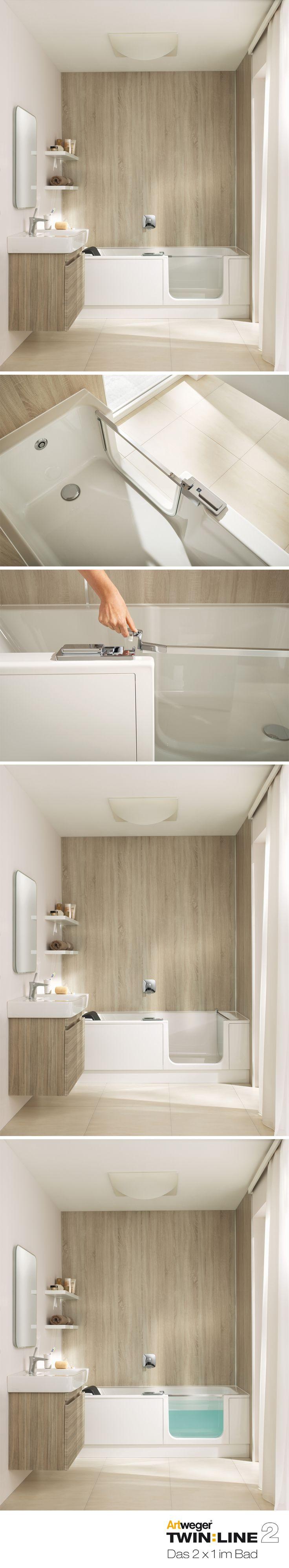 Stylisches Minibad mit Komfort: TWINLINE 2 mit Badewannentür für einen bequemen Einstieg in die Wanne und pflegeleichte ARTWALL Wandpaneele in Eiche hell (beide Produkte lieferbar ab April 2017)  www.artweger.at