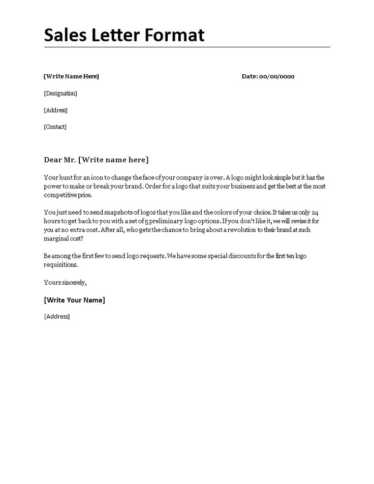 Sales Letter Format - Sales-Letter-Formatdocx Easy to download - format of sales letter