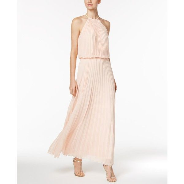 Msk Pleated Necklace Halter Maxi Gown ($129) ❤ liked on Polyvore featuring dresses, gowns, pink, white evening dresses, chiffon maxi dress, pink formal gown, formal maxi dresses and formal evening gowns