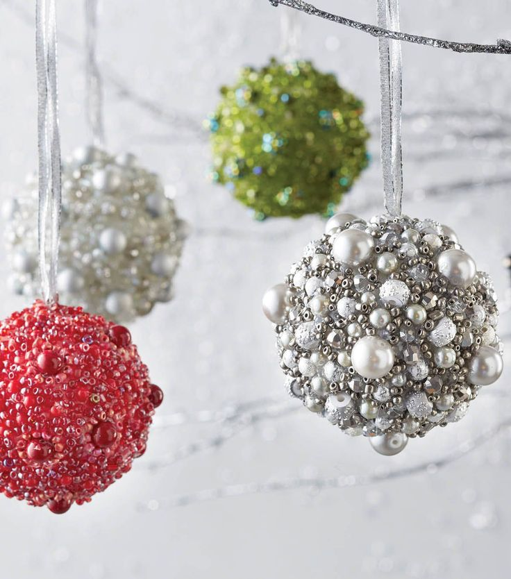 How To Make Beaded Holiday Orbs.   Great decorations for the tree or to hang in…