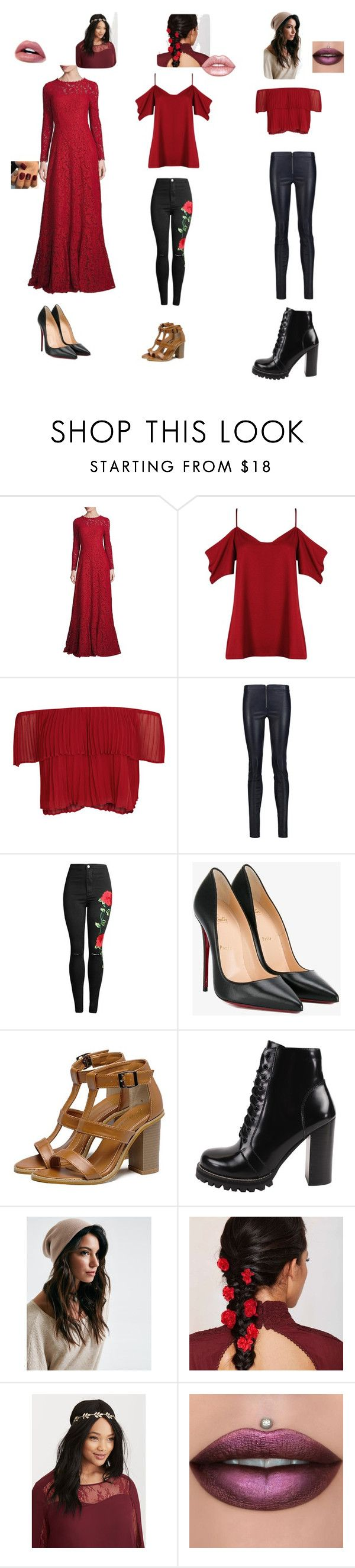 """""""Elena"""" by fangirl-24 on Polyvore featuring ESCADA, Boohoo, Keepsake the Label, Alice + Olivia, Christian Louboutin, Jeffrey Campbell, Torrid, Lime Crime, Prom and rebel"""