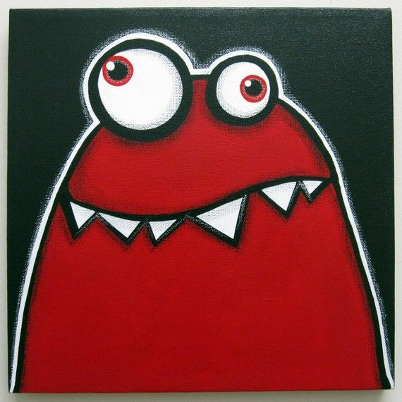 a WEEk oF mOnSTeRs - MONDAY - part of a series - 12x12 original acrylic painting, monster art, monster decor, monster nursery