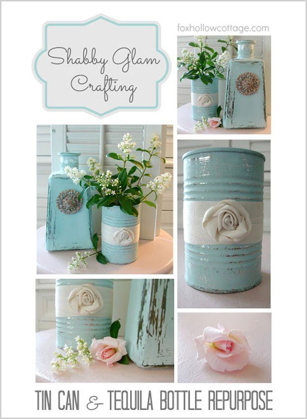 Tin Can & Tequila Bottle Repurpose | 20 DIY Shabby Chic Decor Ideas