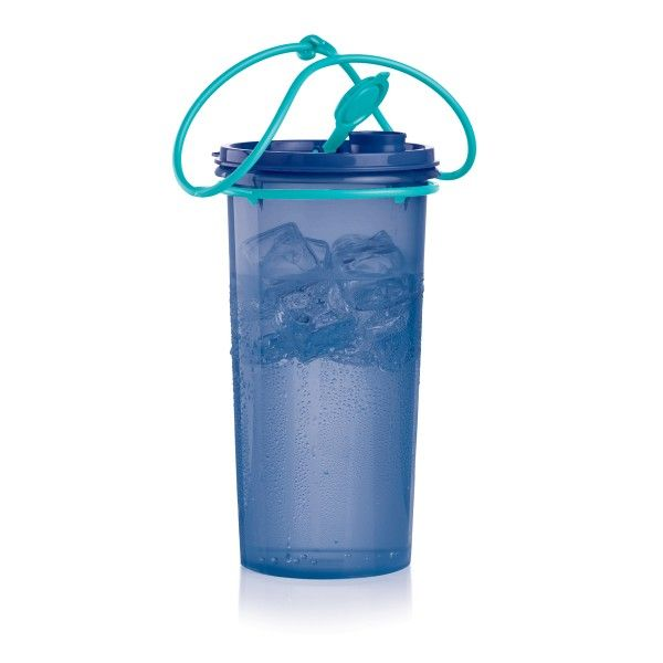 Tupperware Super Mega 48oz Tumbler with Cariolier™:           It's your new gym buddy. Sip for hours without having to refill.    Includes seal with flip-top spout plus easy-tote, Cariolier™ handle.   48 oz./1.4  L.   In Tokyo Blue and Tropical Water   Dishwasher safe   Limited Lifetime Warranty
