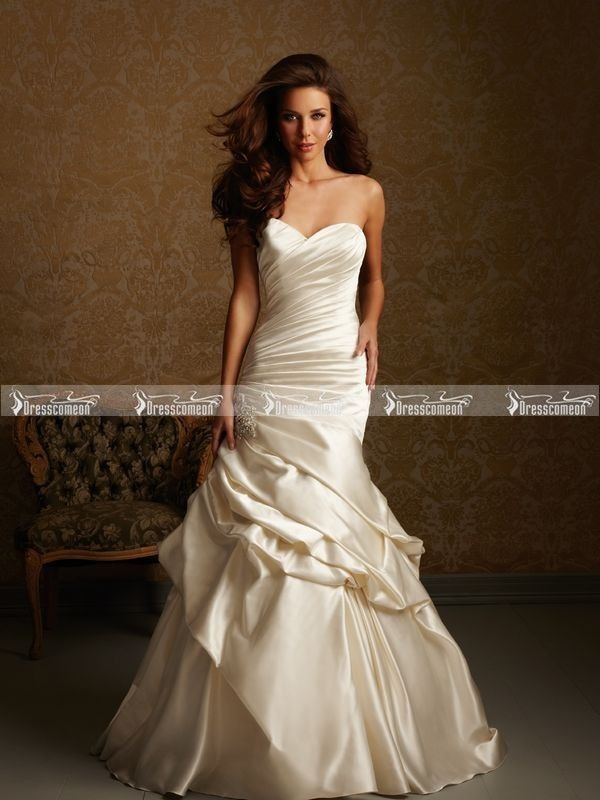 Custom Made Chapel Train High Low Sweetheart Neckline Ruched Taffeta Mermaid Wedding Gown