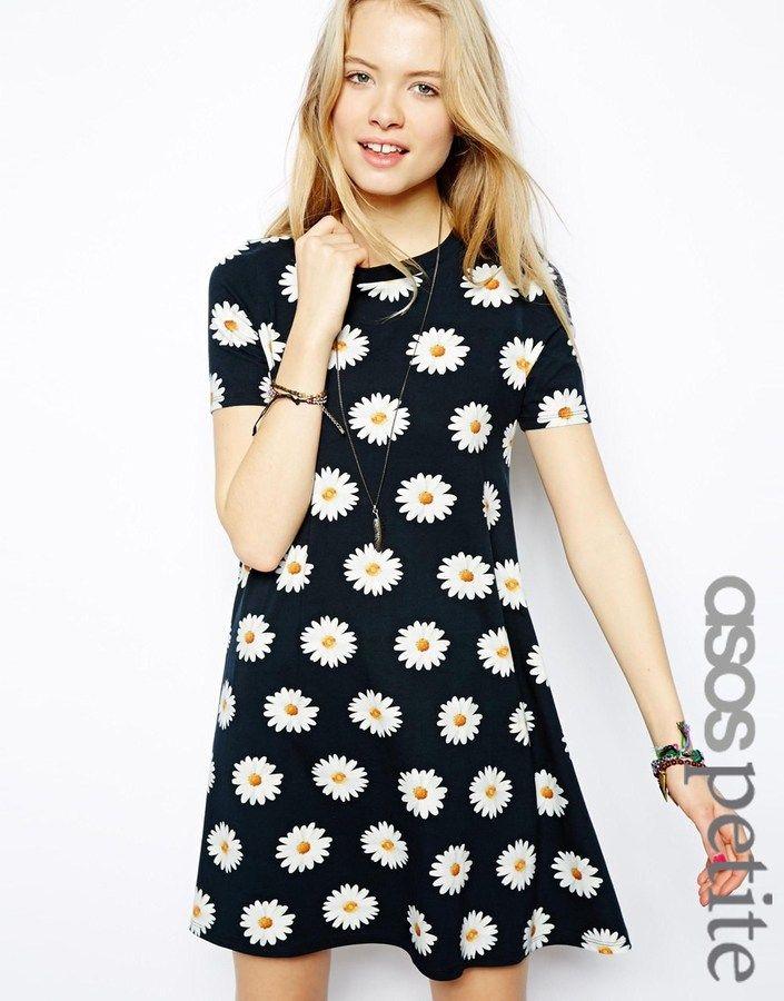 ASOS PETITE Swing Dress In Daisy Print