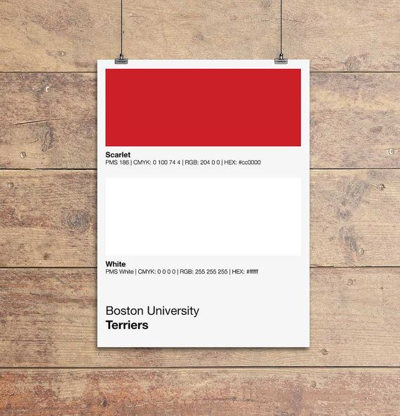 Boston University Terriers Pantone Poster - BU Terrier - Print, Boyfriend Gift, Fathers Day Gift - Red And White