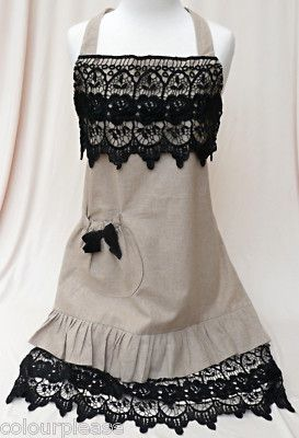 This apron is lovely! I'm thinking black on pink and a teal / coral combo!