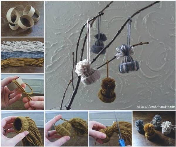 Wonderful DIY Adorable Yarn Hat Ornament