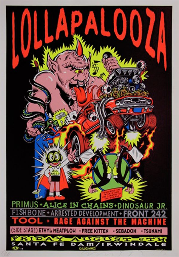 Lollapalooza 1993  Classic rock music concert psychedelic poster ~ ☮~ღ~*~*✿⊱  レ o √ 乇 !! ~