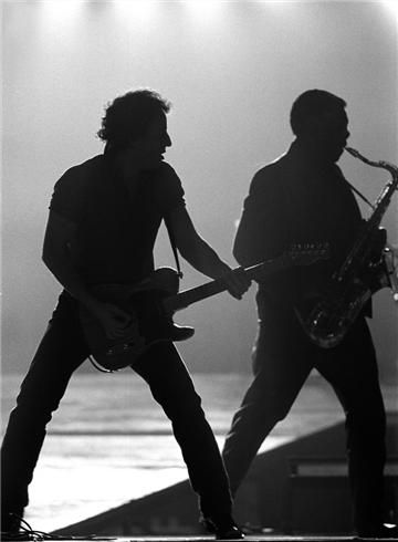 From the Morrison Hotel Gallery in SoHo:  Bruce Springsteen and Clarence Clemons, New Jersey 1987.  Photo by Neal Preston.