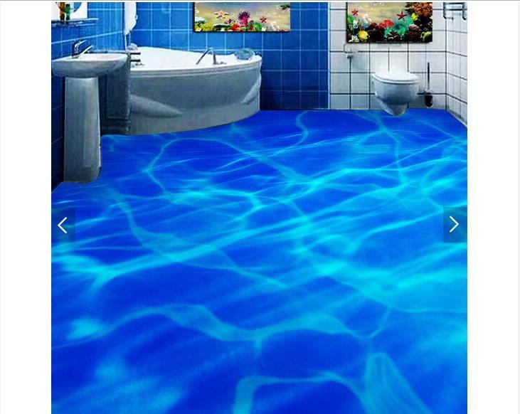 3D обои на заказ 3d пол живописи обои Красивые синие линии воды ванной 3d пол 3d гостиная фото обои