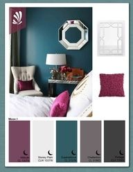 love the teal/ mauve color palet for room