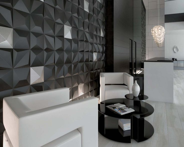 A stunning, multi-dimensional hotel lobby design featuring an eye-catching tile wall created using SHAPES 3-D Tiles by Dune. Byrd Tile Distributors carries these tiles and is happy to help you incorporate them in your latest commercial project. #ByrdTile #HotelLobbyDesign #ContemporaryTiles #commercialdesign