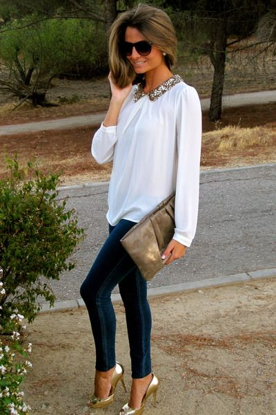 .: Outfits, Hair Colors, Fashion, Style, Peter Pan Collars, White Shirts, Sequins, White Blouses, Gold Shoes