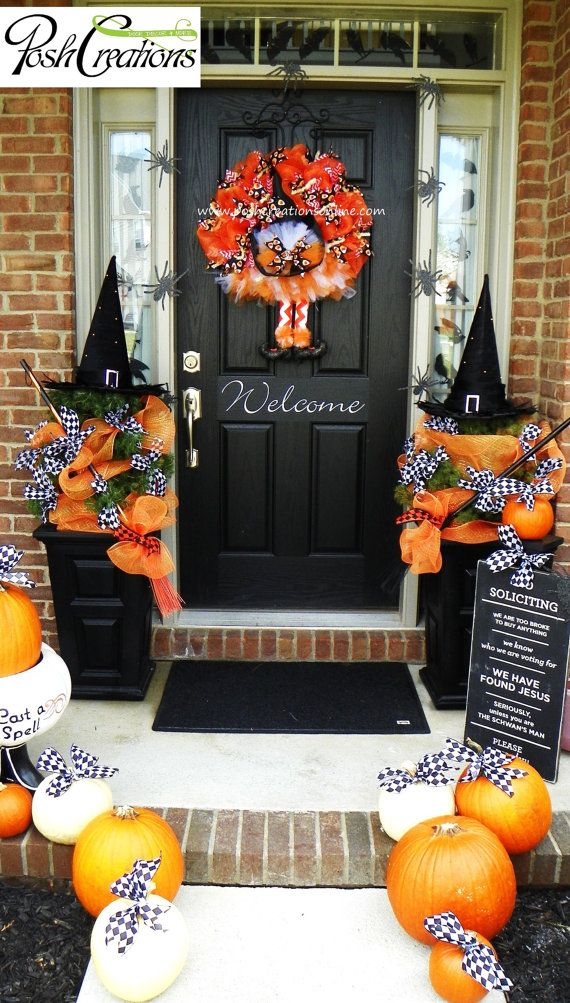 halloween outdoor porch witch decor love the no soliciting sign
