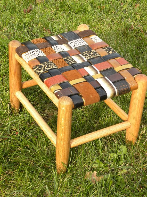 GrandParent Gift Idea SMALL FootStool Custom made Personalized from Kids and Grandkids Recycled Belts