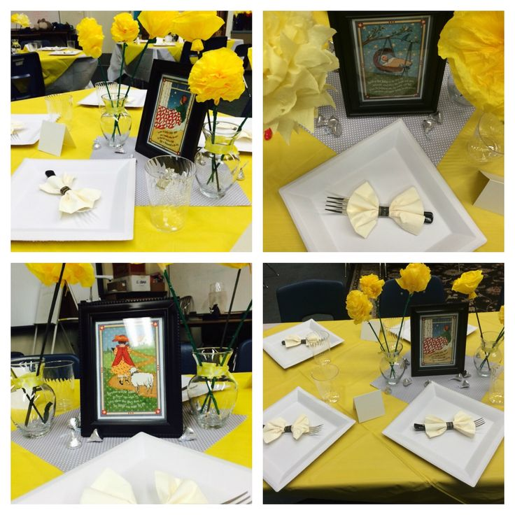 Nursery Rhymes Theme Baby Shower Colors Yellow Gray And