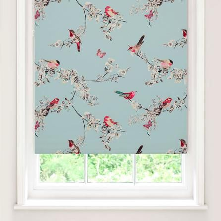 Duck Egg Beautiful Birds Blackout Roller Blind | Dunelm
