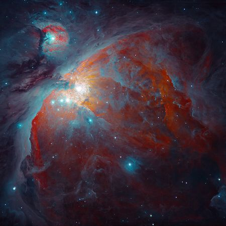 Orion's Nebula - Astronomer Igor Chekalin decided to process this image to emphasize the relatively cool dust, which reflects starlight, rather than the hot hydrogen gas, which emits its own light. (See a high-resolution Hubble picture of Orion.)