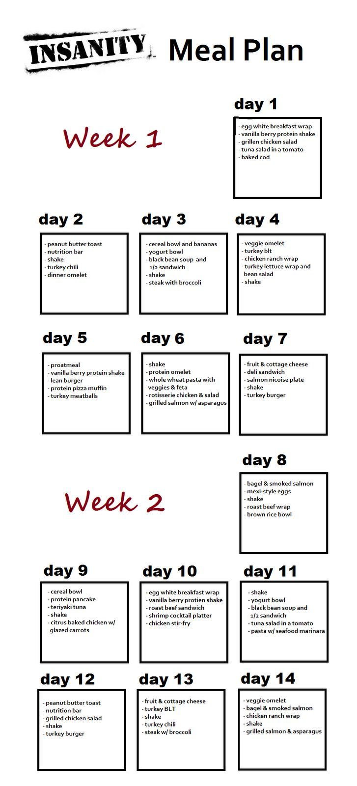 Weeks 1 and 2 of INSANITY meal plan. - Insanity Workout #insanityworkout #fitness #insanity
