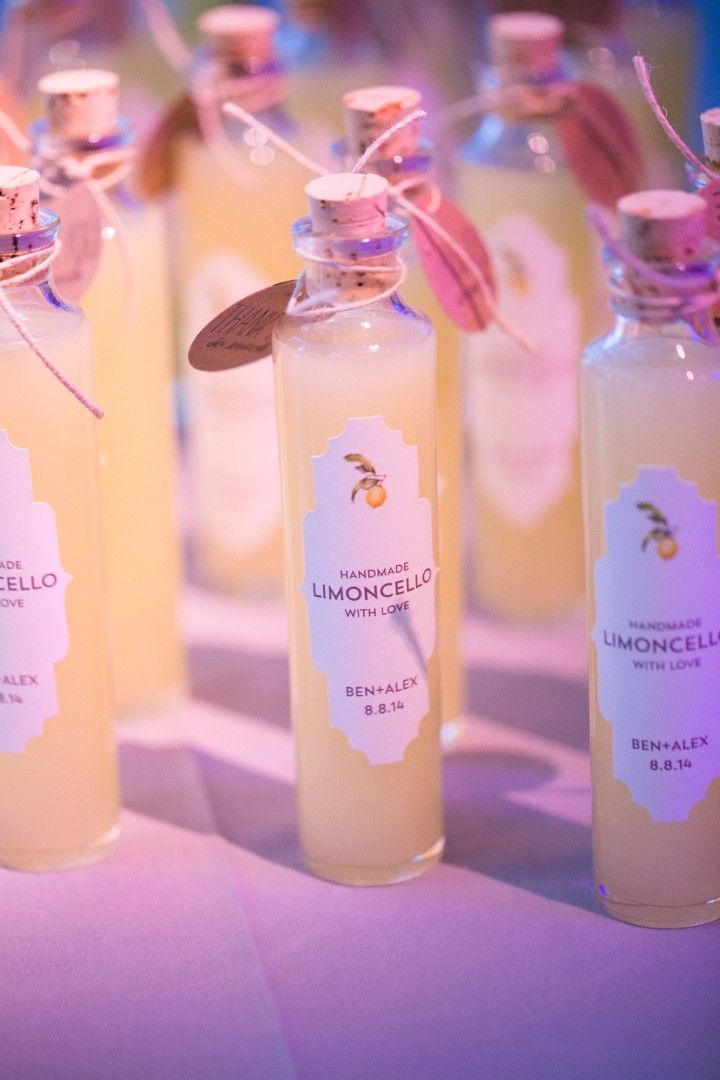 photo: Sara Wight Photography; wedding favor idea: handmade limoncello with love