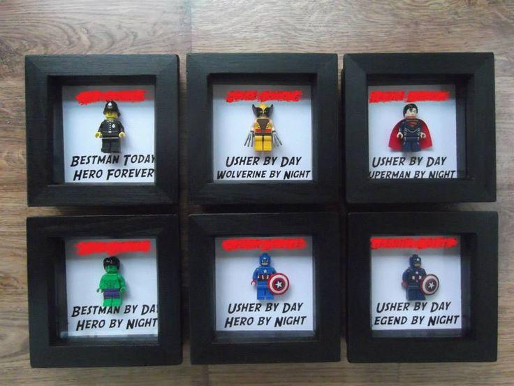 Lego Minifigure Wedding Bestman Groomsman Gift Frames Superhero. Wolverine, Superman, Hulk, Captain America, Policeman.