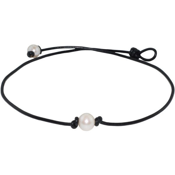 FREE SHIPPING on Pearl Leather Necklaces. Single Freshwater Pearl... ($17) ❤ liked on Polyvore featuring jewelry, necklaces, white freshwater pearl necklace, leather jewelry, freshwater pearl necklace, black jewelry and cultured pearl necklace