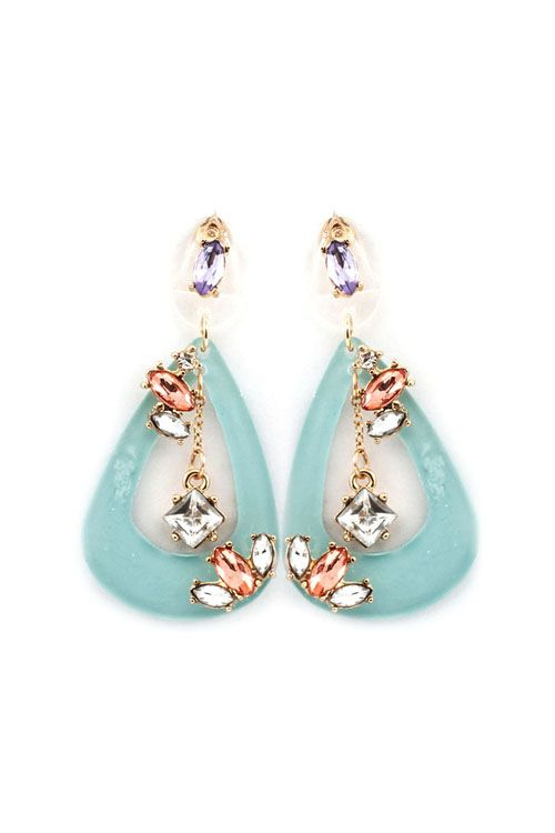 Gorgeous champagne, crystal & lilac rhinestones set against a beautiful blue Teardrop!