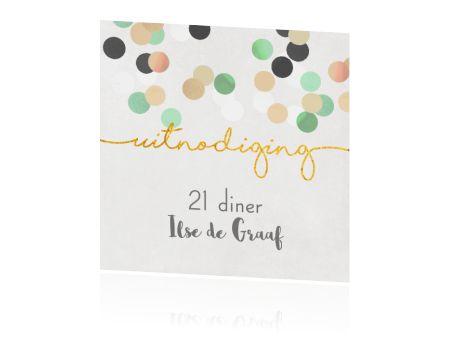 Moderne uitnodiging voor 21 diner met confetti