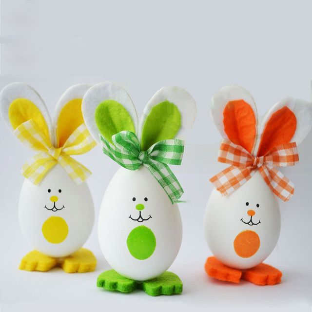 DIY 3pcs/Set Rabbit Bunny Style Crafts Easter Eggs Decoration Gifts Toys Dolls Favor Home Nursery Party Event