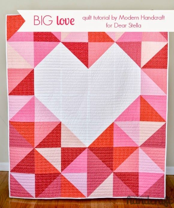"""Big Love Quilt"" Quilt Inspiration: Free pattern day: Hearts and Valentines 2015"