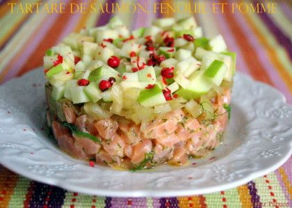 Tartare de saumon, fenouil et pomme