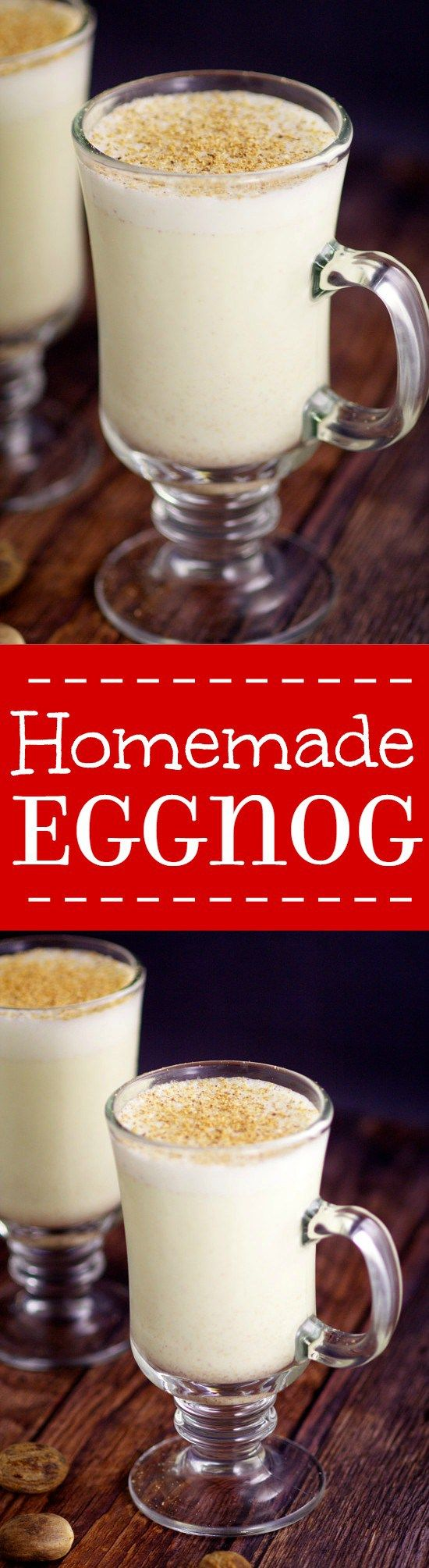 Creamy, smooth Homemade Eggnog is simple to make with just 6 ingredients to get you into the spirit of the season! Store bought can't compete with homemade! Homemade Eggnog is the perfect Christmas treat! Use it in recipes and for parties. Mmmm... homemade eggnog is the best!