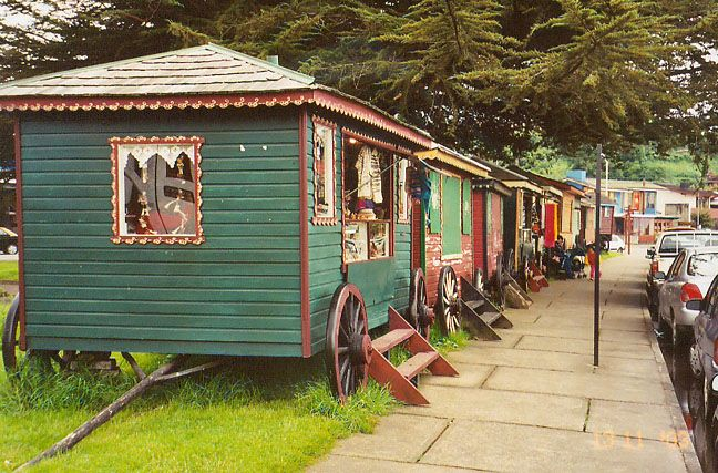 Gypsy wagon sale booths...Puerto Varas, Chile  -  Travel Photos by Galen R Frysinger, Sheboygan, Wisconsin