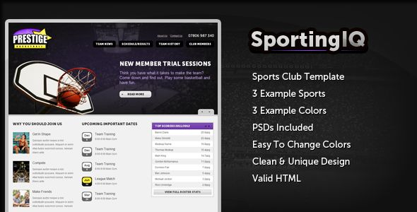 Sporting IQ - HTML Sports Template   http://themeforest.net/item/sporting-iq-html-sports-template/3977153?ref=damiamio       Sporting IQ is an HTML template specifically designed for sports clubs or leagues. Features include: 3 Example Sports 3 Example Color Schemes Easy to Customize 7 Example Pages Valid HTML SEO Friendly Roster/Schedule/Results and other sports elements   If you have trouble setting up or customizing, request a screencast and I will upload one.     Created: 8February13…