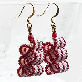 Ribbon Candy Earrings Red And White At Sova Enterprises Jewelry Patternsbeading