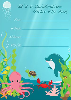 Kids Party Supplies Under The Sea Free Printable Invitations Birthday