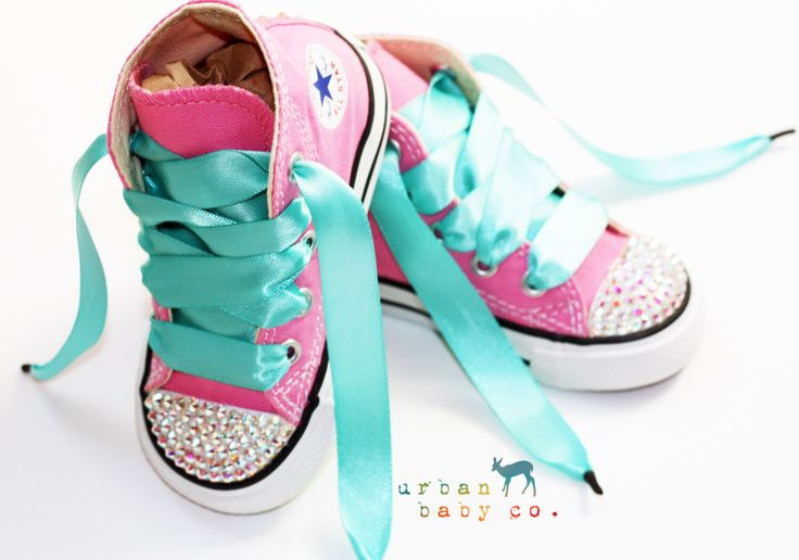 Infant, Toddler Baby Girl High Top Pink Converse All Star Chuck Taylor's With Aqua Ribbon Laces & Swarovski Crystal Rhinestones door shopurbanbabyco op Etsy https://www.etsy.com/nl/listing/198596746/infant-toddler-baby-girl-high-top-pink