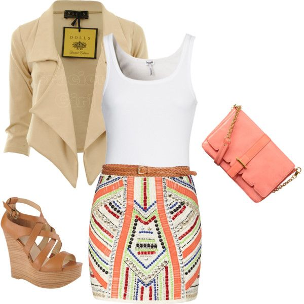 outfit: white thick-strapped singlet, multicoloured tribal-printed tight-fitting miniskirt, tan plait belt, nude blazer, peach satchel, tan / thatched sandal platform wedges